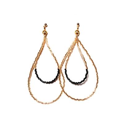 Beads hoop pierce <black gold>