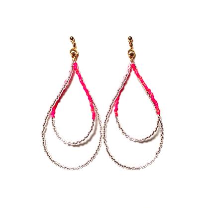 Beads hoop pierce <mix red silver>