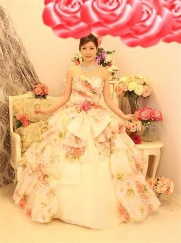 フラワープリント姫カラードレス