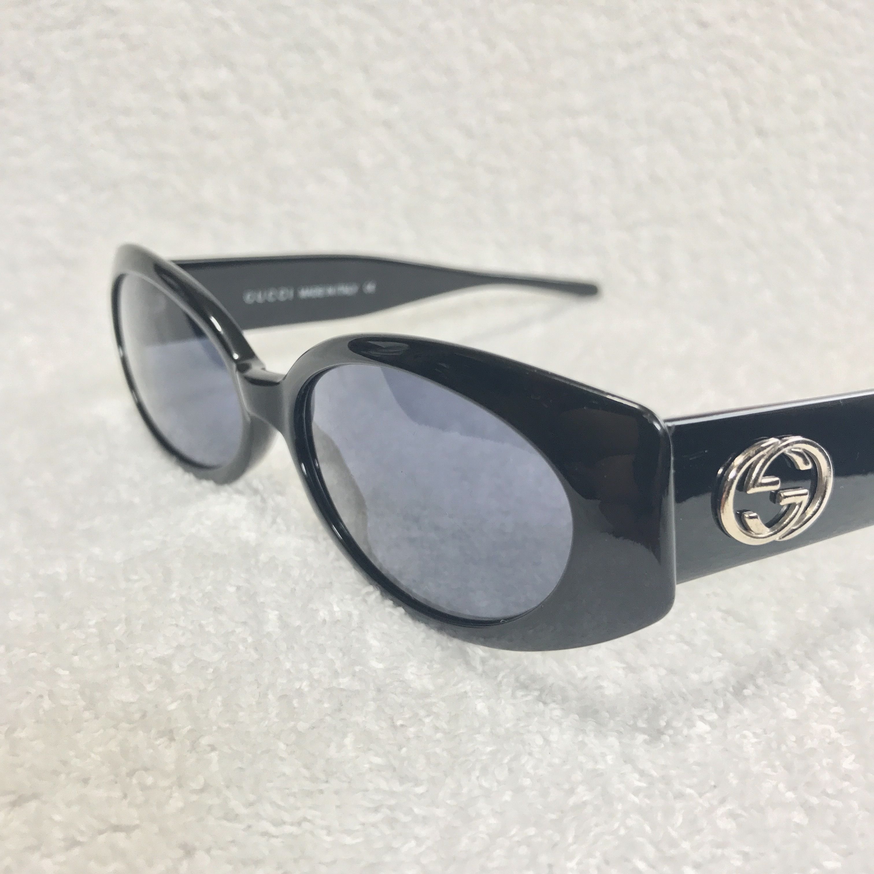 VINTAGE GUCCI ROUND SUNGLASSES BLACK×BLUE