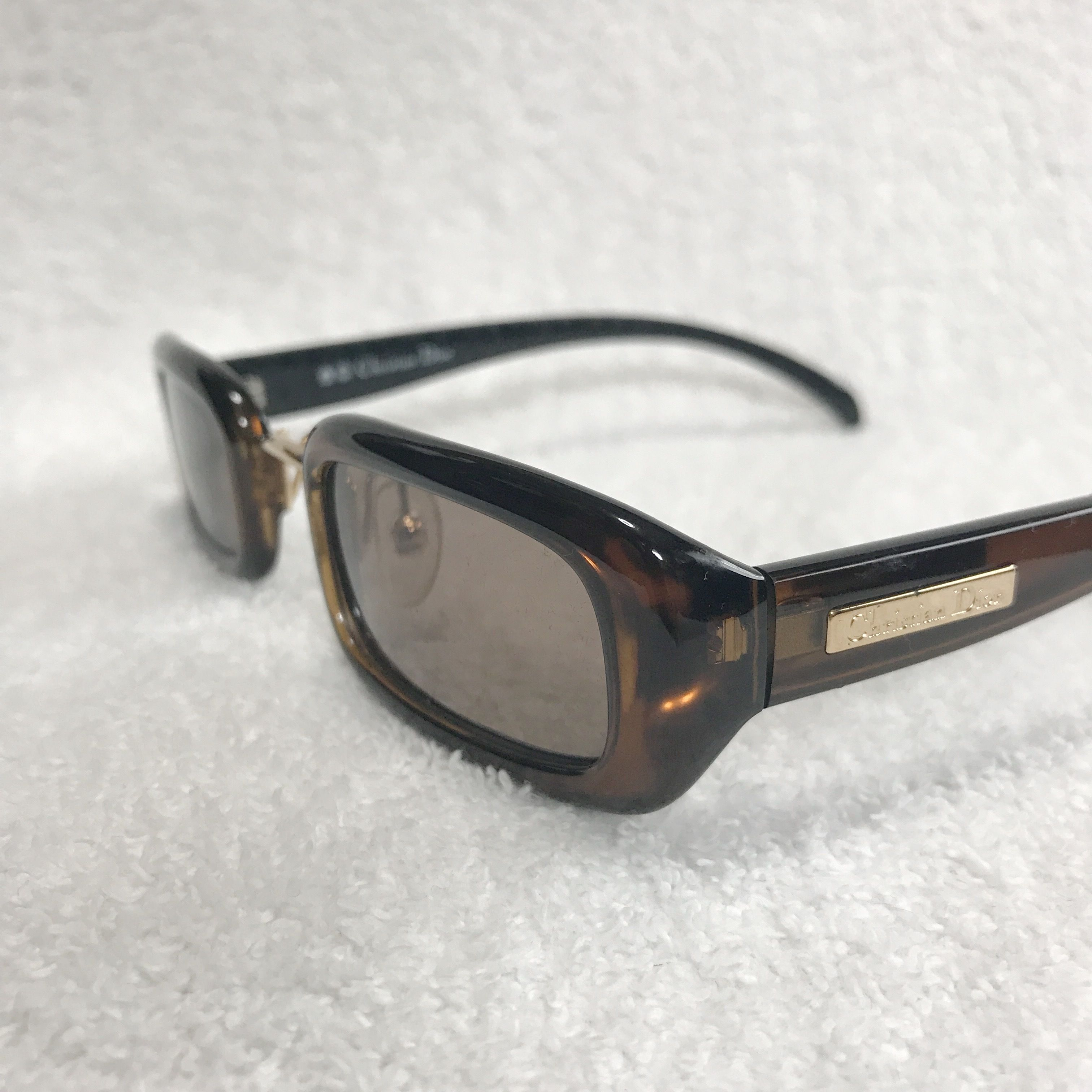VINTAGE Christian Dior SQUARE SUNGLASSES BROWN