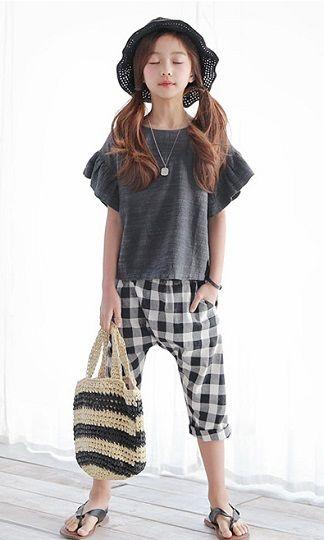 キッズ セットアップ2点セット フリル Tシャツ+チェック パンツ ナチュラル服 長ズボン 上下セット 韓国子供服 男の子 女の子 送料無料 お出かけ 可愛い TAGX11066