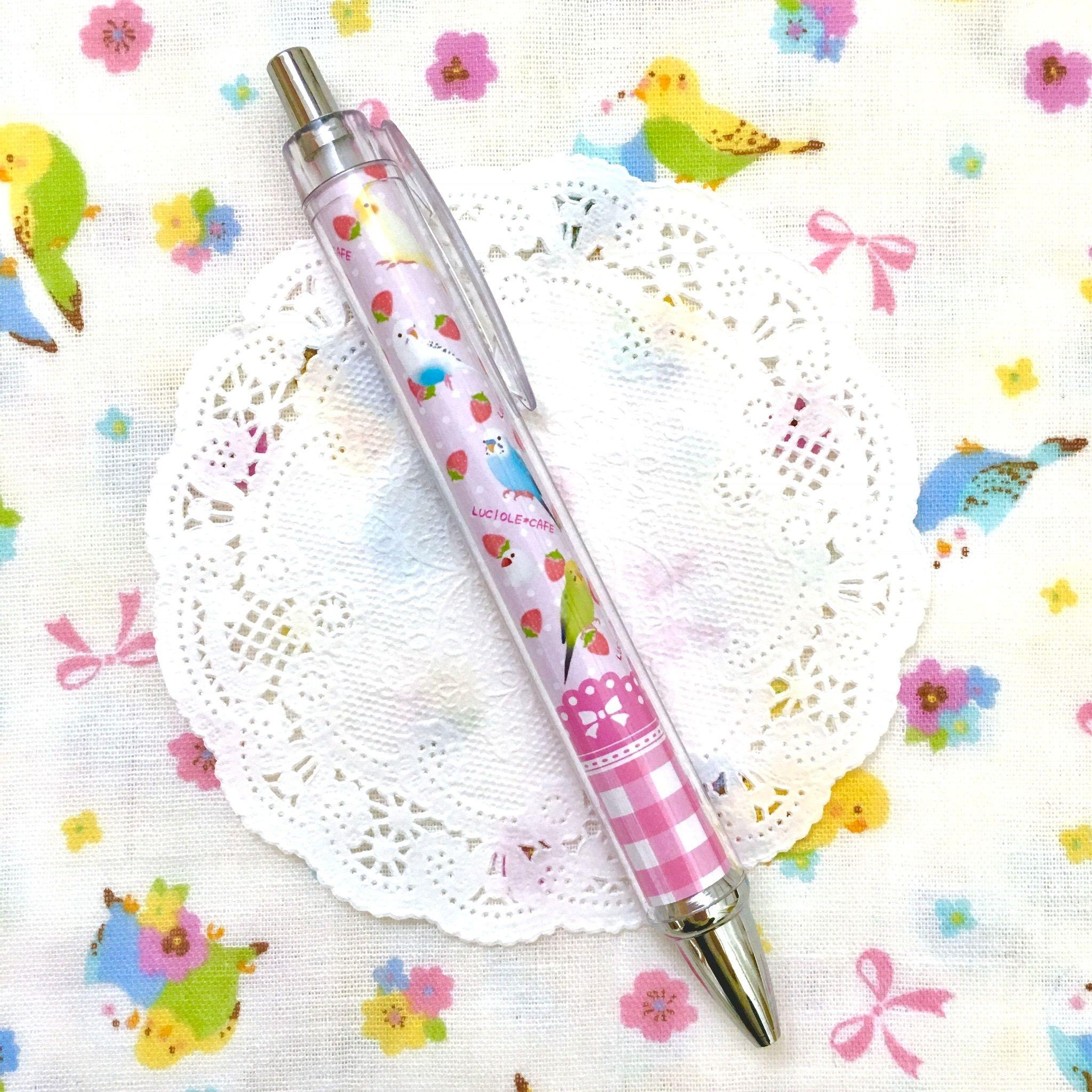 小鳥といちごのスイーツボールペン?ピンク