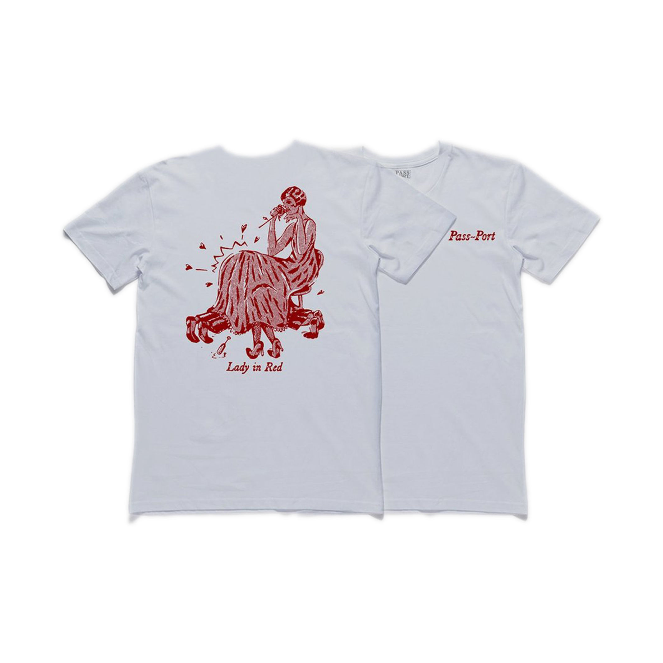 """PASS~PORT【 パスポート】""""LADY IN RED"""" TEE WHITE Tシャツ ホワイト"""