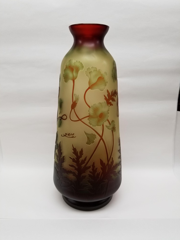 ガレスタイルガラス花瓶 蔦柄徳利型大花瓶緑