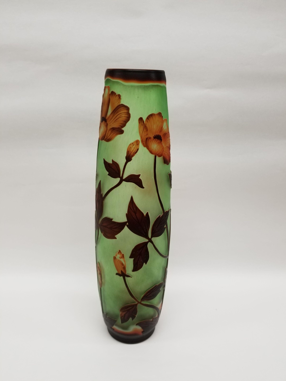 ガレスタイルガラス花瓶 花柄円筒型長花瓶グリーン