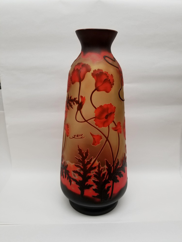 ガレスタイルガラス花瓶 蔦柄徳利型大花瓶赤