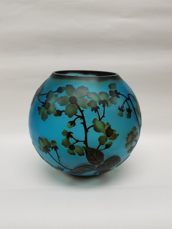 ガレスタイルガラス花瓶 桜柄球型花瓶ブルー