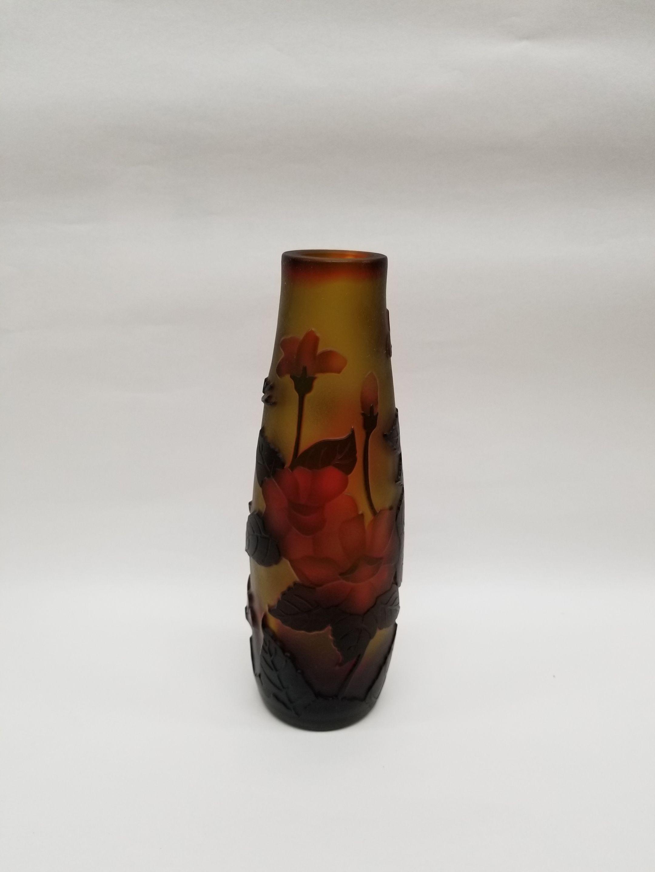 ガレスタイルガラス花瓶 赤花柄円筒細型花瓶黄