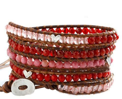 赤サンゴ4種類パワーストーン天然石銀色ハート5連ブレスレットチャンルー風