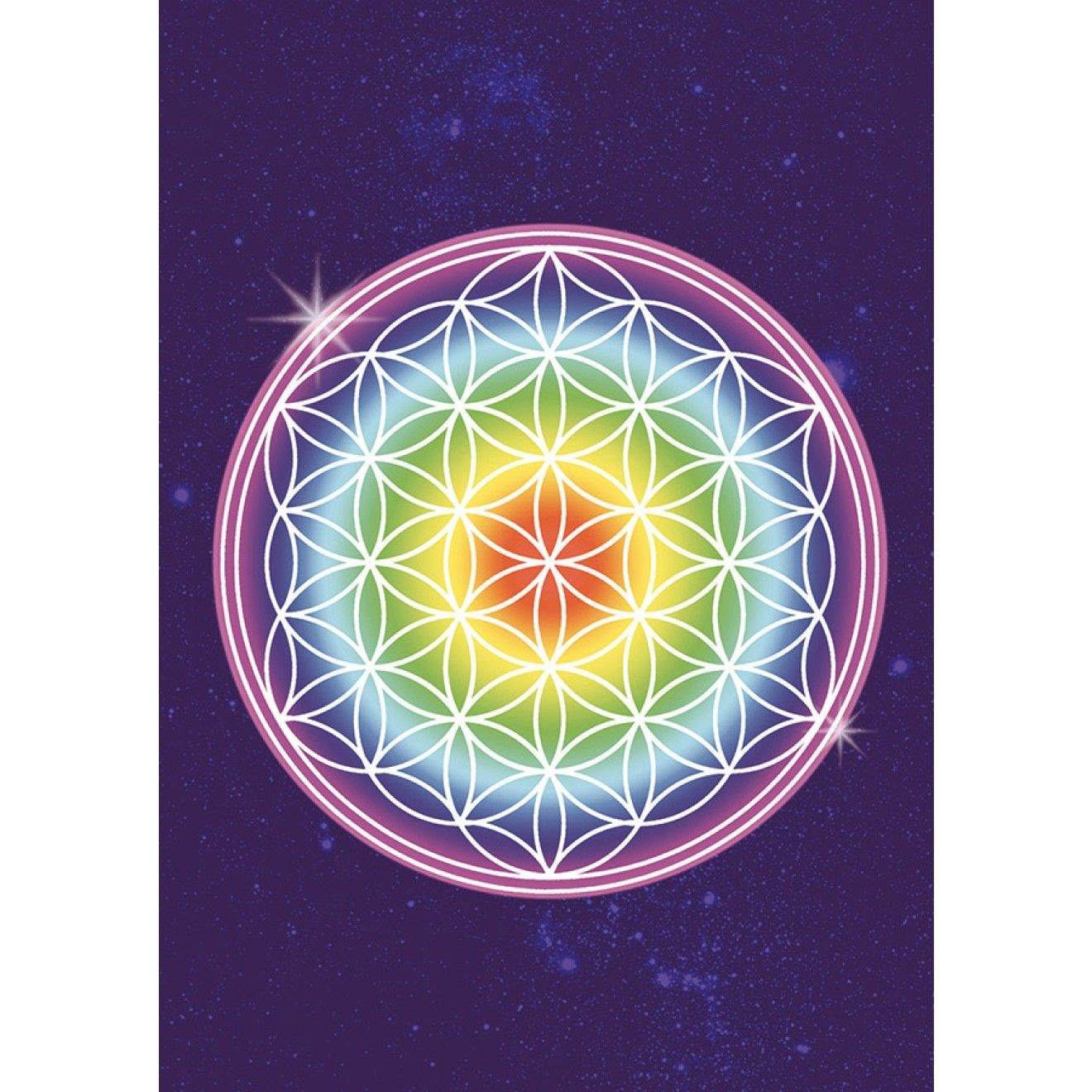 flower of life - rainbow-  postcard  (spc001)
