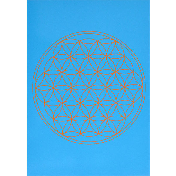 """flower of life""  postcard -blue- (spc002-5)"