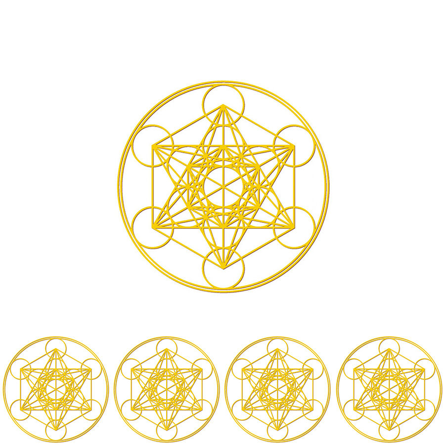"""metatron"" gold sticker -5 piece set-  (sst003-3)"