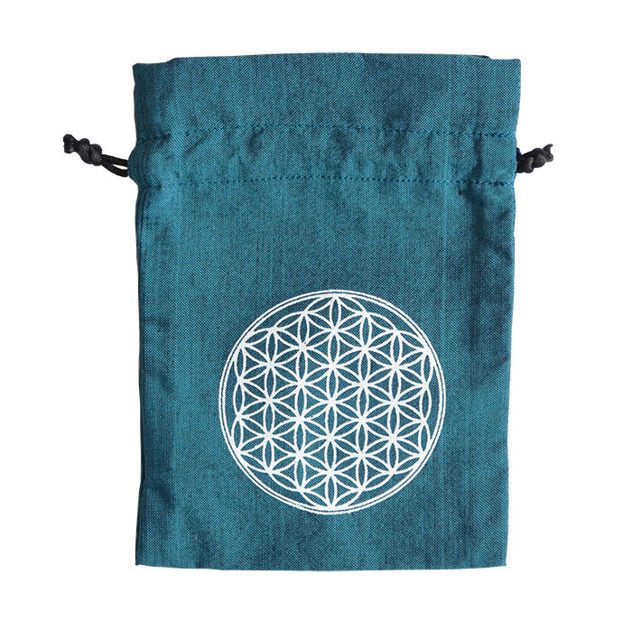 """""""flower of life""""  hand made cotton pouch  -turquoise-  (sp002)"""