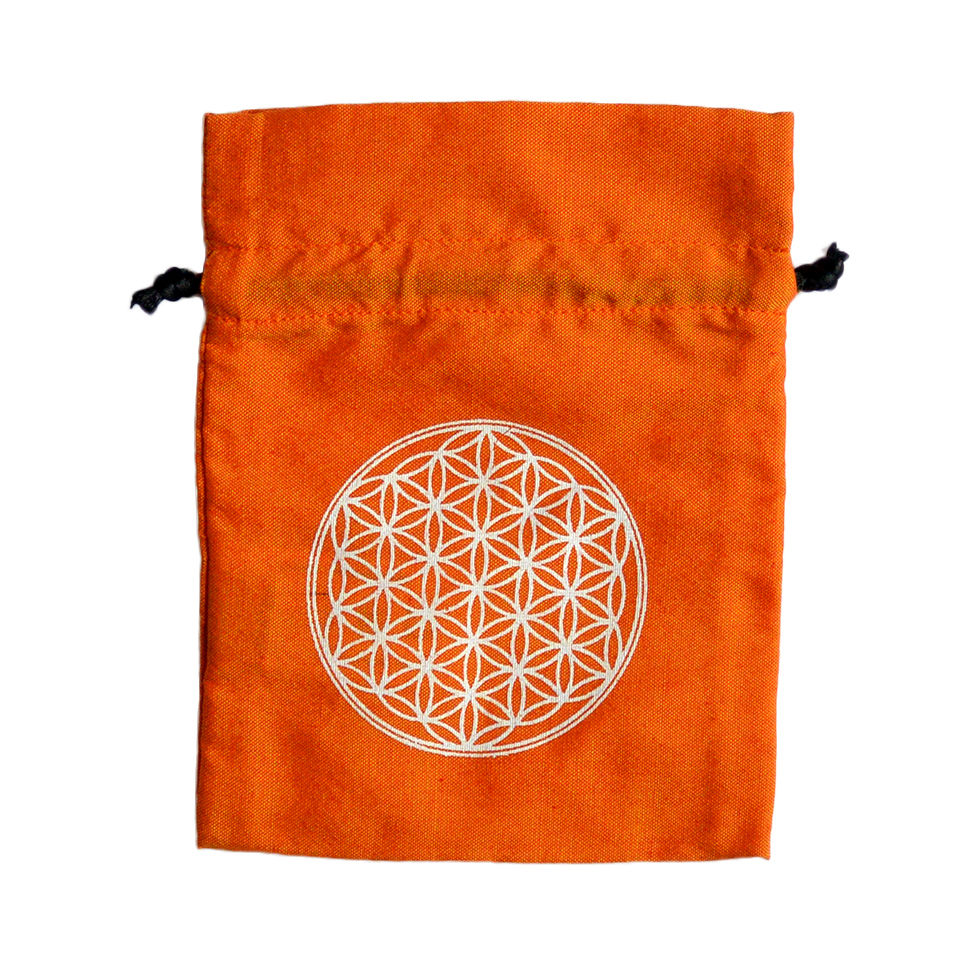"""""""flower of life"""" hand made cotton pouch  -orange-  (sp001)"""