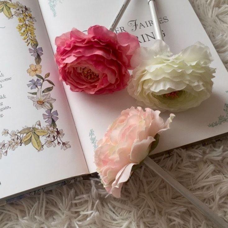 MARBLE & Co. お花のボールペン ラナンキュラス  [rose pink, light, white  (リボンなし)]