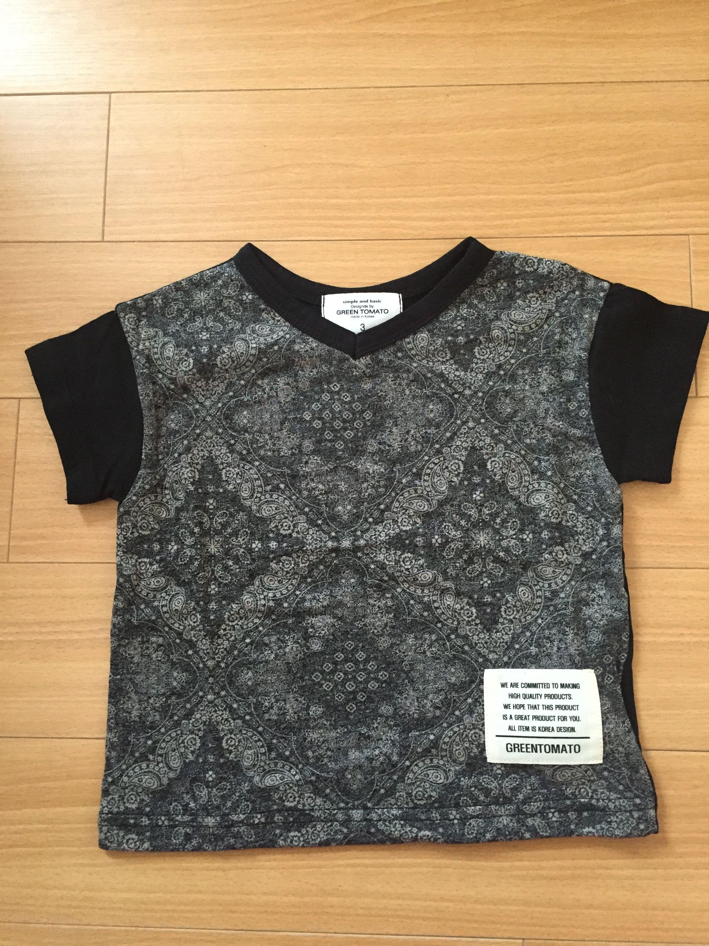 ペイズリー柄VネックTシャツ