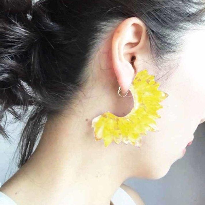 つららピアス yellow flowers