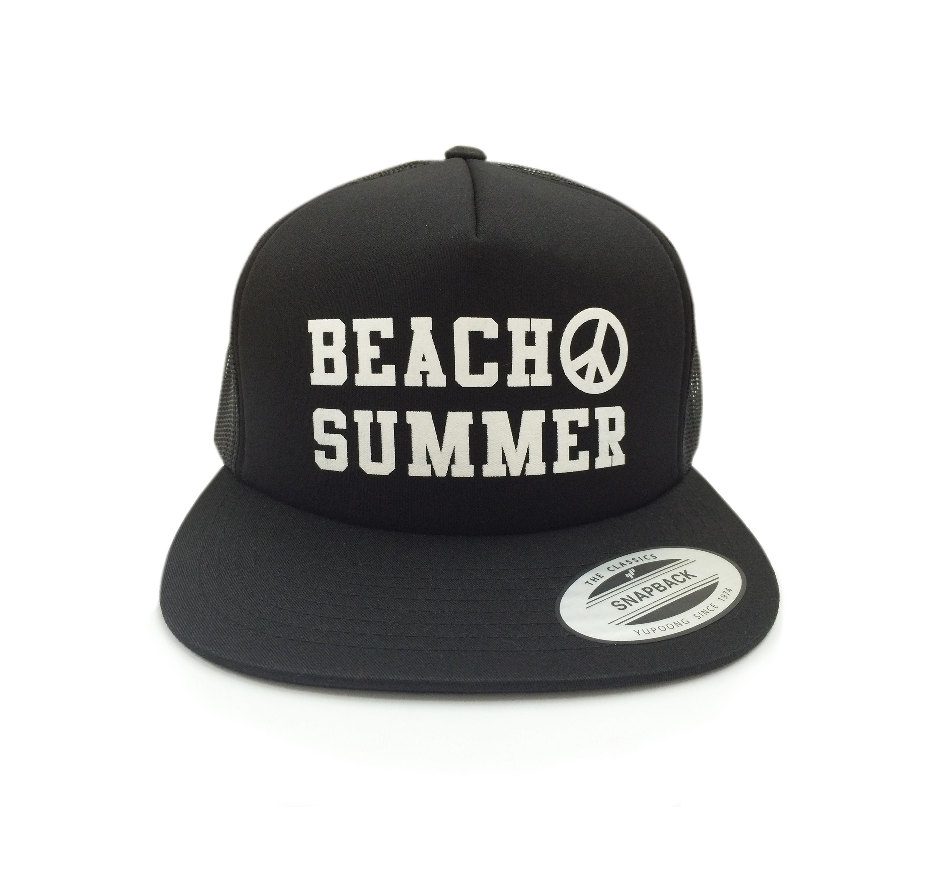 """""""BEACH SUMMER"""" SNAPBACK MESH CAP (BLACK)"""
