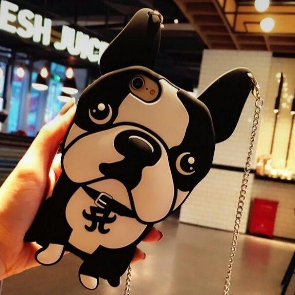 iPhone6~7ケースインパクト大/白黒犬モチーフチェーン付でよりおしゃれ