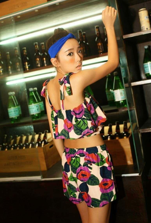 青/緑ショートパンツ付/体型カバー花柄タンキニ