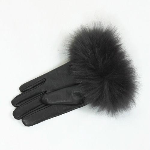 FOXファーレザーグローブ(ブラック)casselini(キャセリーニ)