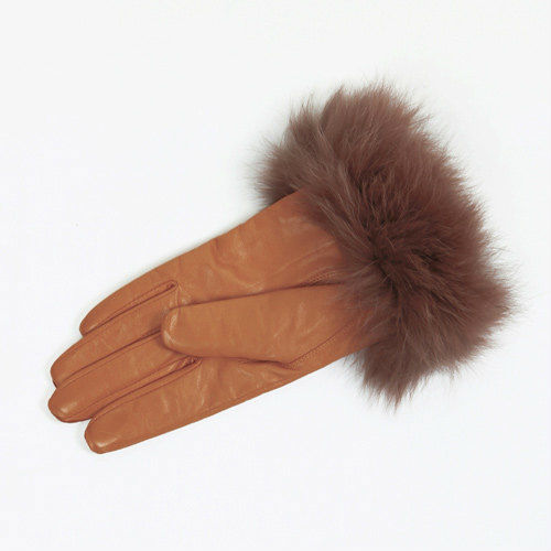 FOXファーレザーグローブ(キャメル)casselini(キャセリーニ)