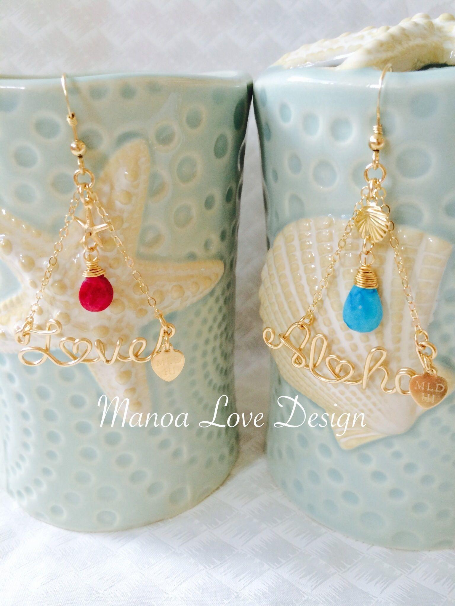 Manoa Love Design/ 14K gf カスタムネーム バースストーンピアス