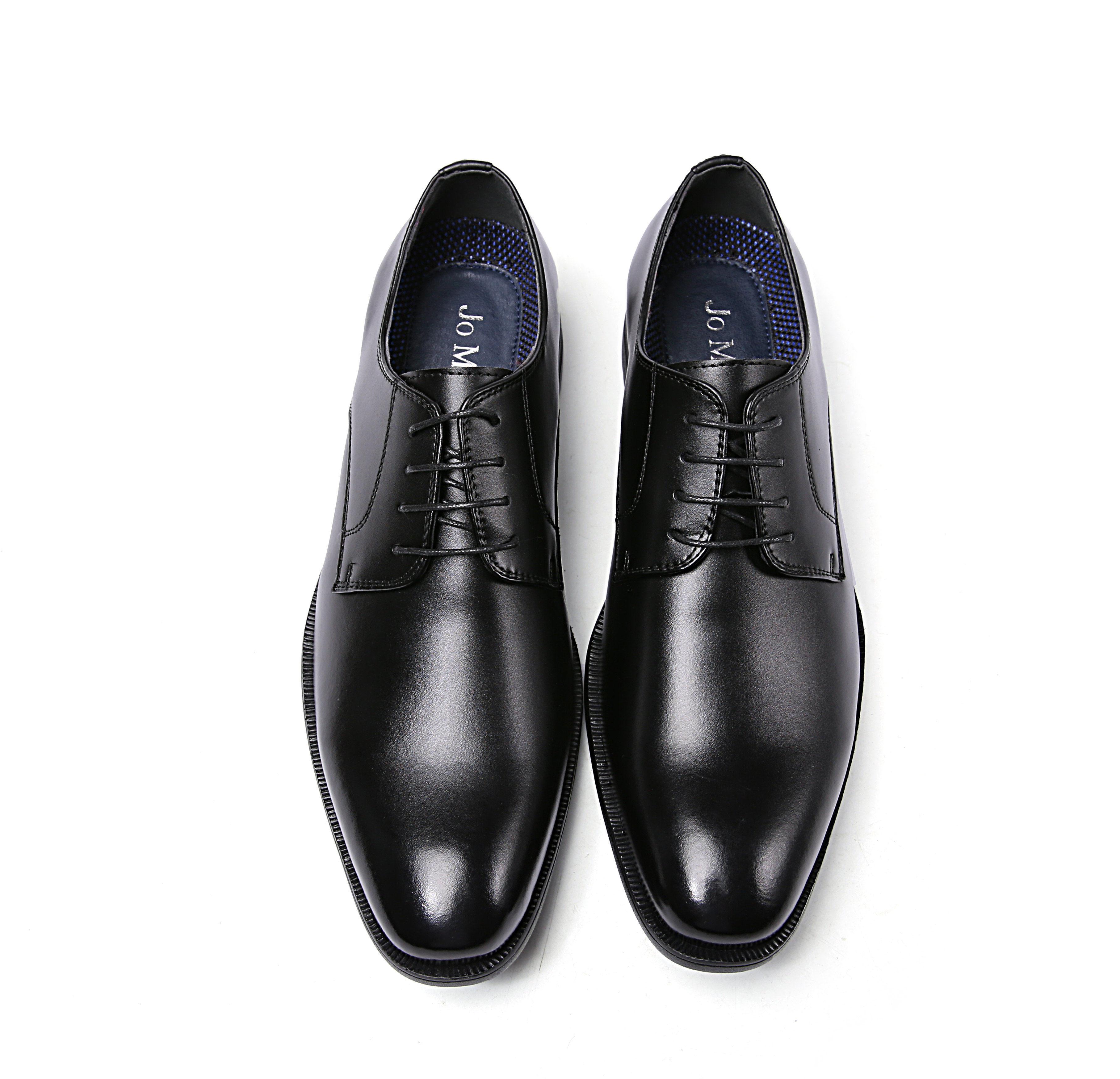 【Jo Marino】高品質 本革 メンズ ビジネス レザーシューズ 革靴 紳士靴 通気性 空気循環 消臭 衝撃吸収 幅広 軽量 7711-BLACK