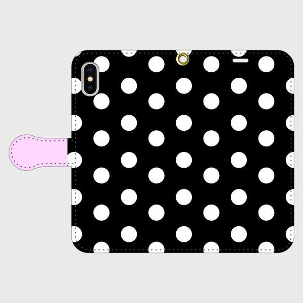 coin dot & lavender Black 手帳型 / iPhone