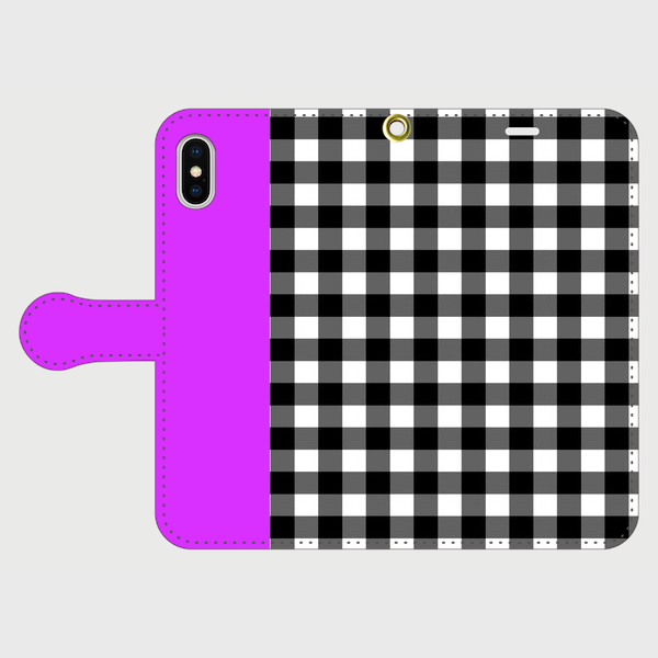 Gingham Purple 手帳型 / iPhone