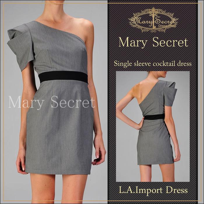 モード系 L.A スレンダードレス L.A インポートドレス 個性的なワンショルダーデザインドレス