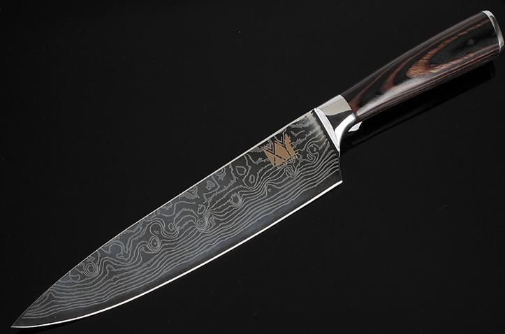 ダマスカス鋼  ブレード  スライスナイフ  三徳包丁  8 インチ
