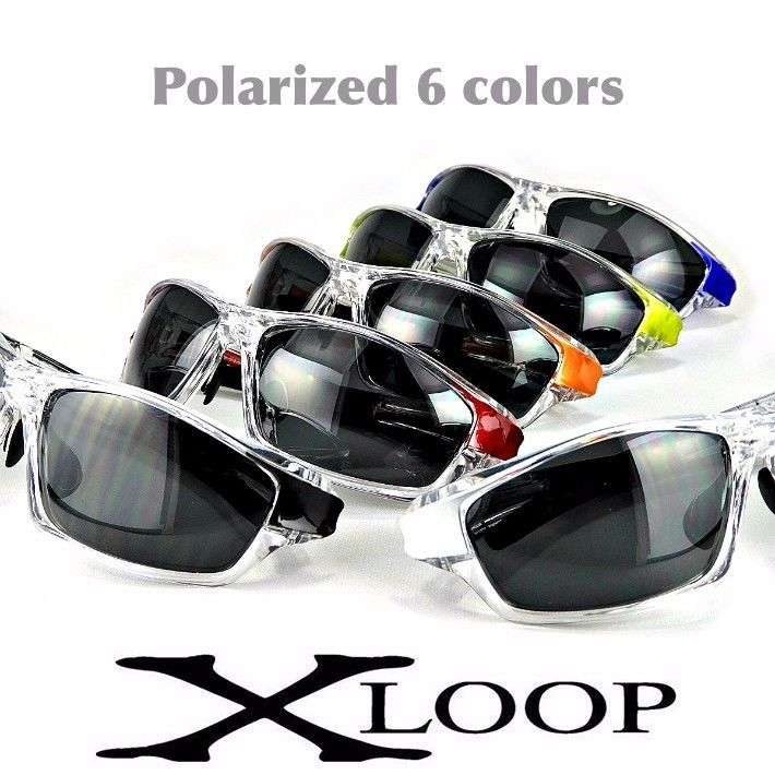 偏光 レンズ スポーツ サングラス X-LOOP 610 ゴルフ 釣り ランニング 6色
