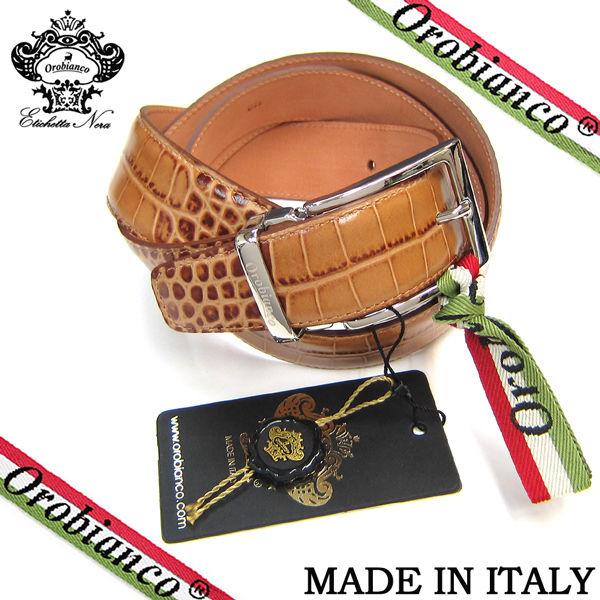 Orobianco オロビアンコ ベルト クロコ型押し 牛革 メンズ カット可能 紳士 ビジネス ブラウン (319)