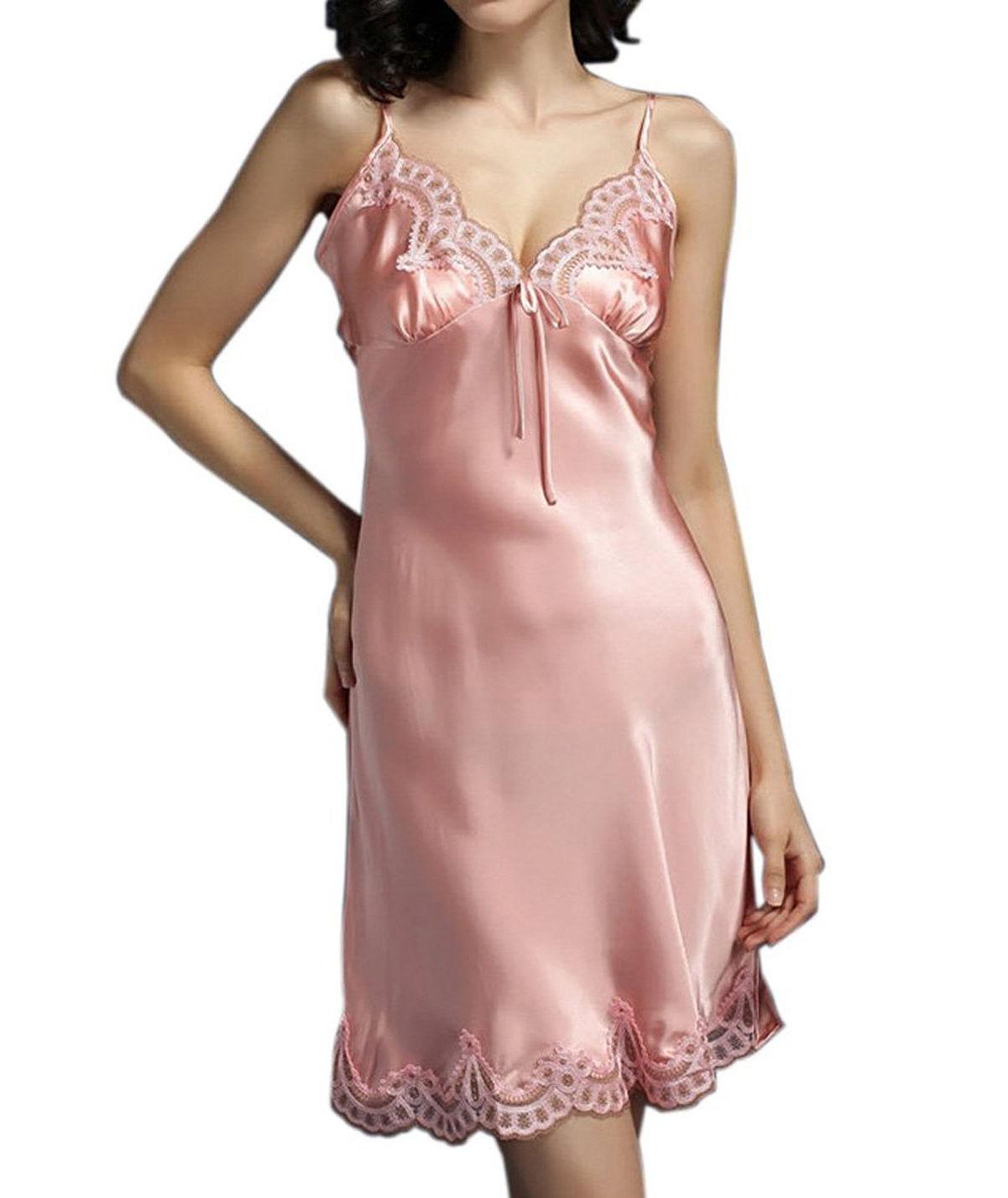 (MAYUDAMAシルク)シルク100% スリップ 絹 胸元刺繍レース ネグリジェ ルームワンピース <ピンク>