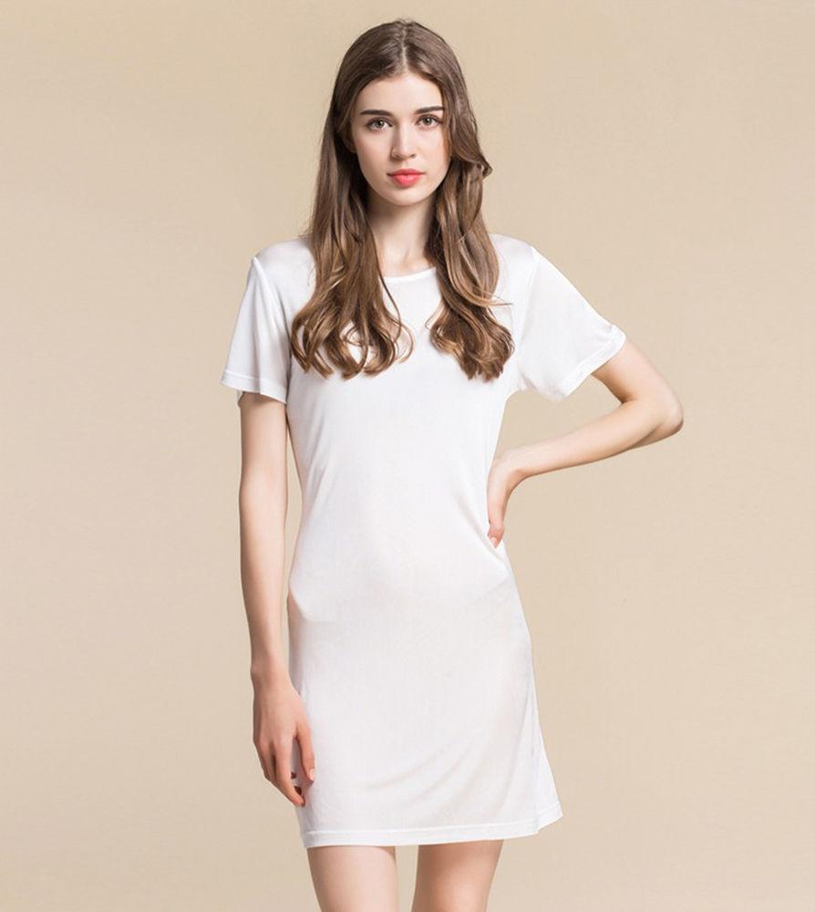 (MAYUDAMAシルク)ピュアシルク100% ダブルトリコットシルク シルクニット 半袖 パジャマ ネグリジェ ルームワンピース <ホワイト>