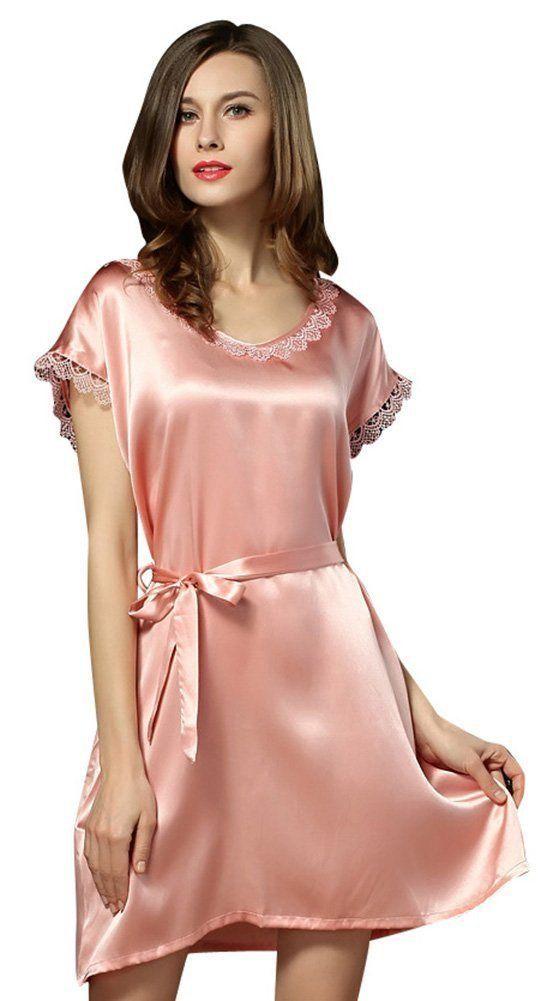 (MAYUDAMAシルク)シルク100% シルク パジャマ ネグリジェ ナイトガウン ルームウェア ラウンドネック エレガント ゆったりフィット <ピンク>