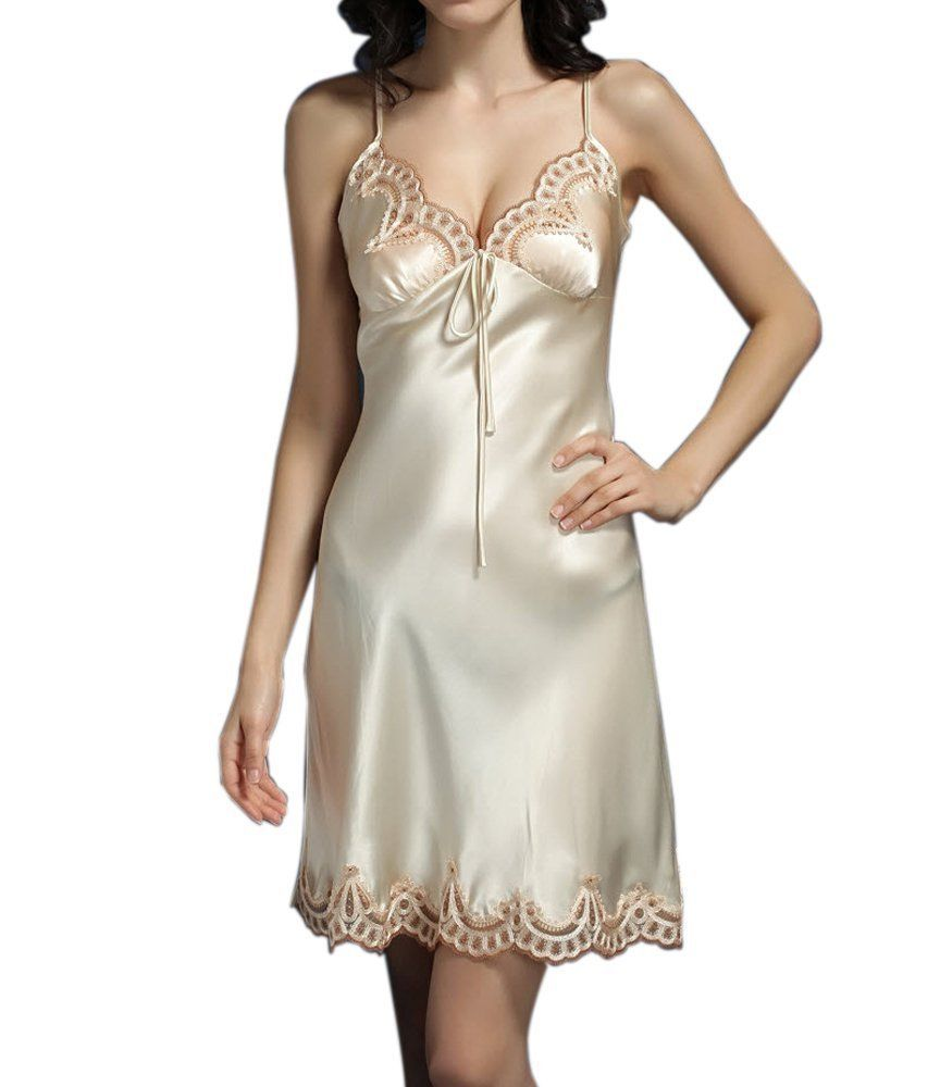 (MAYUDAMAシルク)シルク100% スリップ 絹 胸元刺繍レース ネグリジェ ルームワンピース <シャンパン>