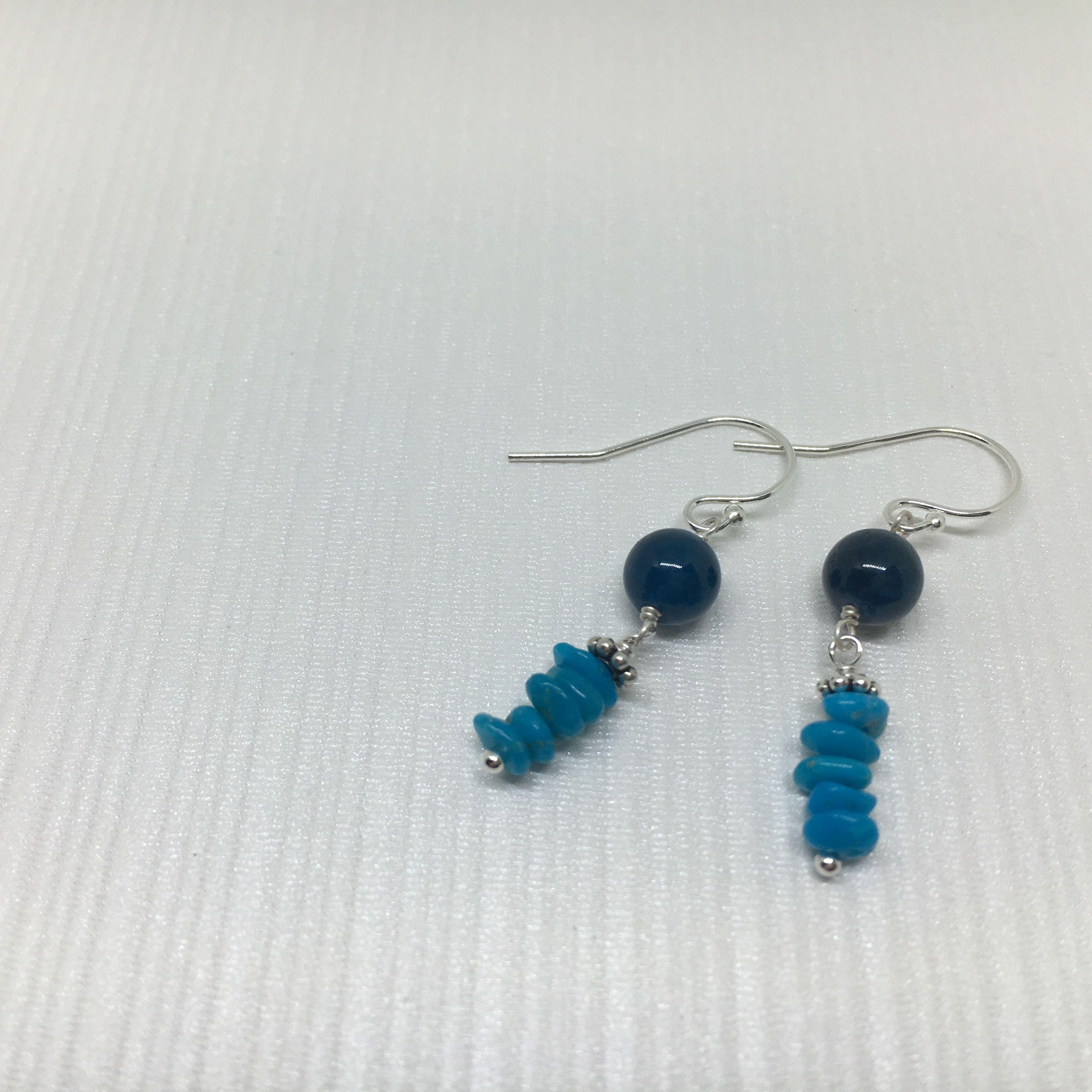 【Ao】ブルーアパタイト と ターコイズ の シルバーピアス