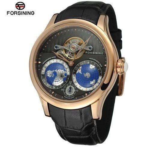 Forsining メンズ機械式腕時計 自動巻  レザー 地球柄 高級ブランド