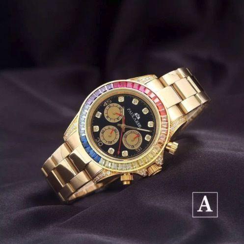 PAULAREIS 自動巻き 機械式腕時計 レインボーダイヤモンド ステンレス シルバー×ブラック