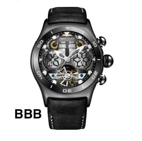 REEF TIGER 自動巻き 機械式腕時計 メンズ トゥールビヨン RGA703 BRS カラバリ12色 サファイアクリスタル