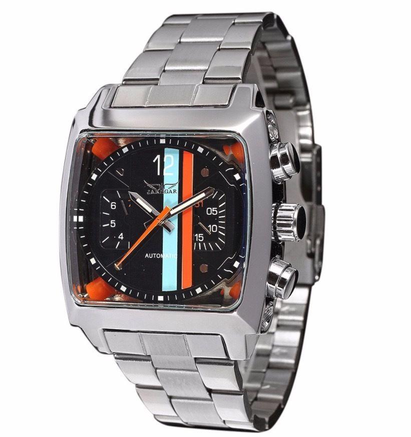 Jaragar 自動巻き 機械式腕時計 メンズ 正方形ベゼル ステンレス カラバリ2色