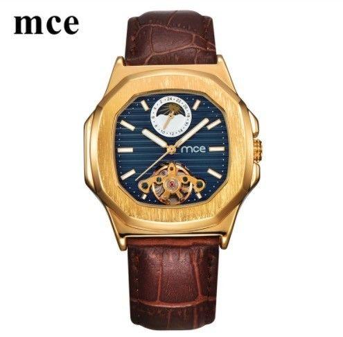 mce 機械式腕時計 自動巻 メンズ ムーンフェイズ トゥールビヨン 本革バンド