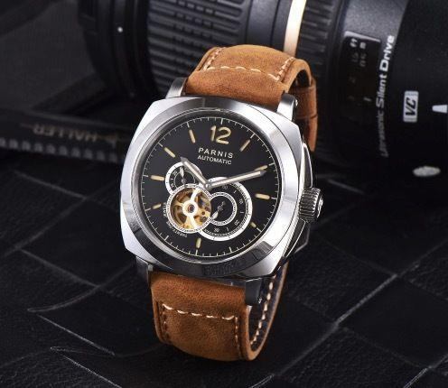 Parnis 44mm 自動巻き 機械式腕時計 メンズ スケルトン 100m防水  サファイアクリスタルリスタル 3色展開