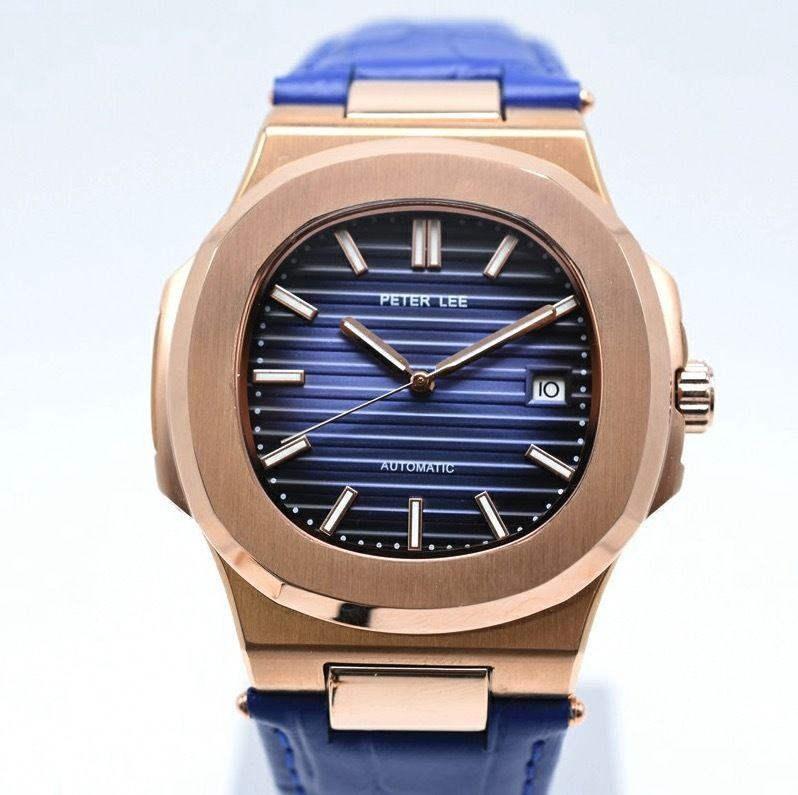 PETER LEE 手巻き 機械式腕時計 メンズ  レディース レザーストラップ ローズゴールド