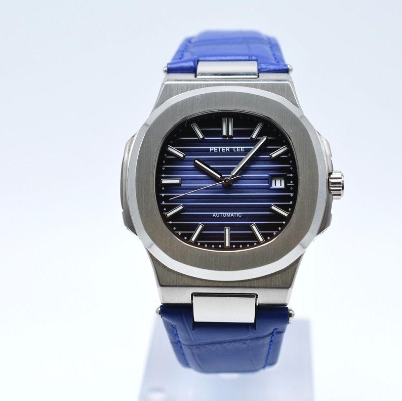 PETER LEE 手巻き 機械式腕時計 メンズ レザーストラップ 5色展開