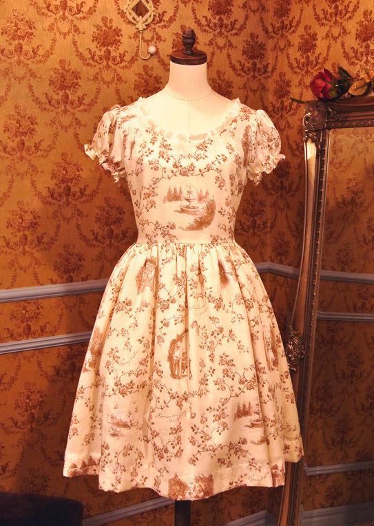 シークレットガーデンパフスリーブサマードレス-キャラメルアンティーク