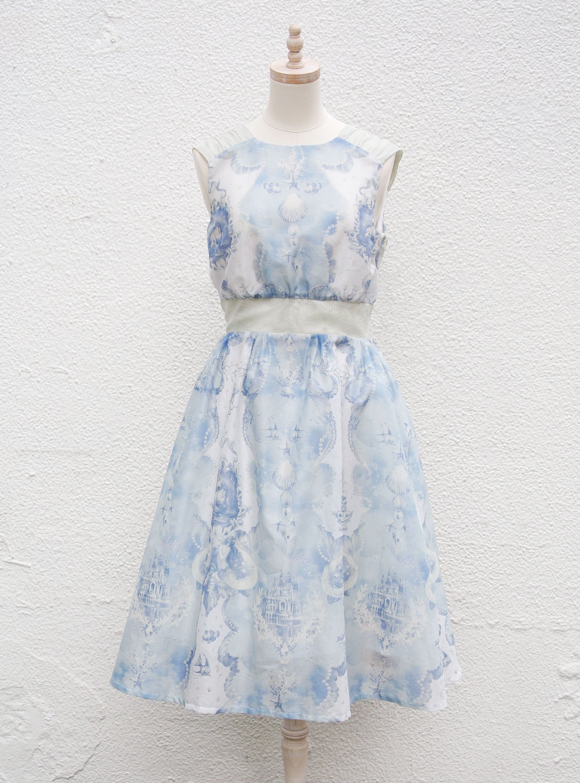 人魚の涙柄 ローンドレス -ブルー-